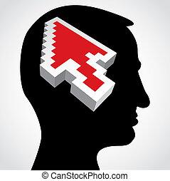 red arrow in a human head