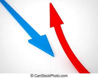 Red arrow of a direction it is opposite light blue arrow