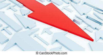 Red arrow of a direction it is opposite light blue arrows