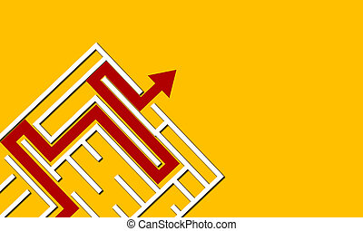 Red arrow out of maze for success. Business success concept