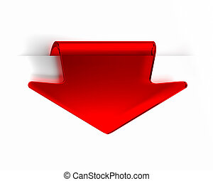 Red Arrow - Red glass top arrow page tab. Part of a series.