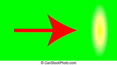 Red arrow pointer on green background