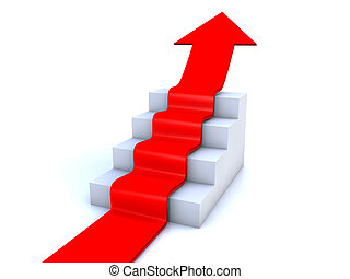 red arrow rising up on stairway