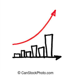 Red arrow succesful graph. Hand drawing, isolated.