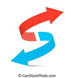 Red Arrow Up - Blue Arrow Down. Double Arrows Set Isolated on White Background.