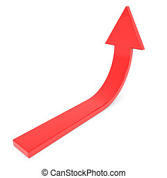 Red arrow up. Concept of success, growth. Computer generated...