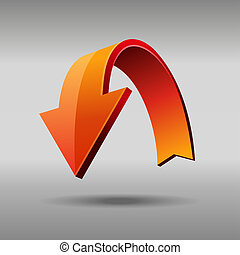 Red arrow. Vector - Red arrow. 3D glossy icon. Vector EPS10