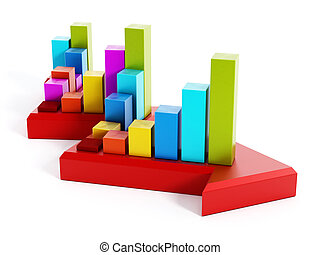 Red arrow with colored bar graph