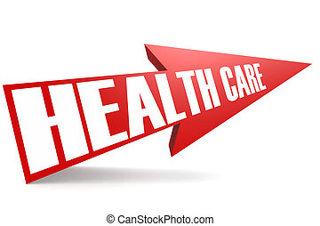 Red arrow with health care word