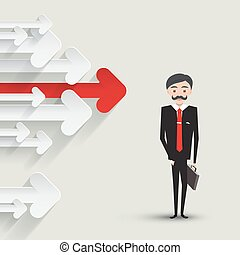 Red Arrow with Paper Arrows and Smart Businessman in Suit with Case. Vector Illustration.