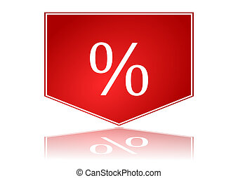 Red arrow with percentages