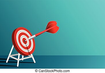 red arrows darts in target circle. business success goal. on background blue. creative idea. leadership. cartoon vector illustration