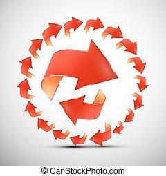Red Arrows in Circle. Arrow Symbol Set.