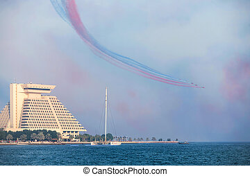Red Arrows over Doha Bay - The Red Arrows flying display...