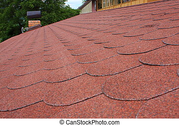 Red asphalt shingle roofing