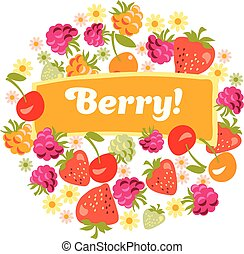 red assorted berry set. vector illustration.