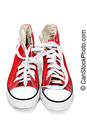 red athletic shoes on a white background