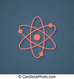 red atom icon with shadow