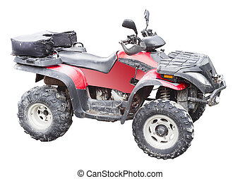 red atv quad bike isolated on white background