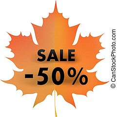 Red autumn maple leaf on a white background with a 50% sale. Concept of autumn