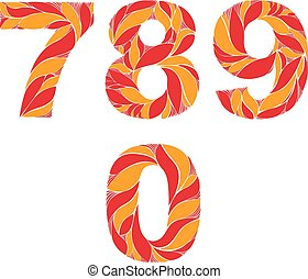 Red autumn style vector digits, numbers set with eco floral ornament. 7, 8, 9, 0.