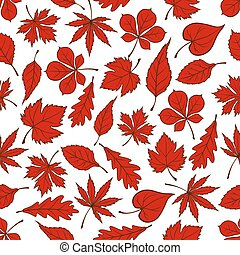 Red autumnal leaves seamless pattern background