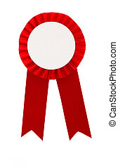 Red award ribbon badge isolated on white background
