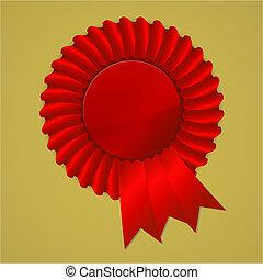 Red award ribbon rosette on gold background, vector...