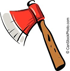 Red ax with wooden handle vector illustration on white background