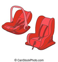 Red baby car seats set