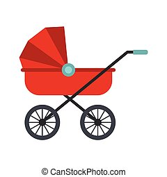 Red baby carriage icon