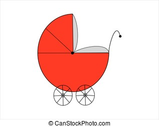 Red baby pram isolated on white background
