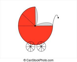 Red baby pram isolated on white background