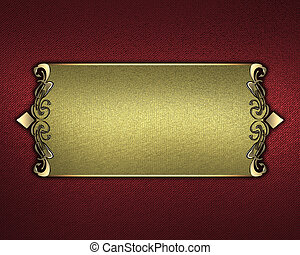 Red background and gold name plate with gold ornate edges -...