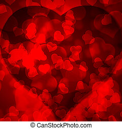 Red background blurred lights heart