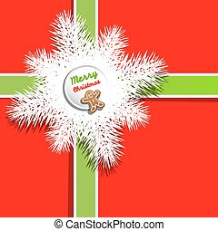 Red Background. Christmas Present - Gift Box Cover with Gingerbread Man, Green Ribbon and Snowflake - Tree Branch.