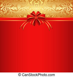 red background with bow for gifts and gold ornamnts