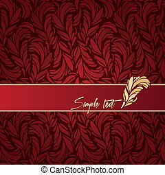 red background composition with feathers texture