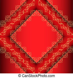 red background frame with gold ornament