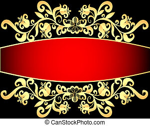 red background frame with vegetable gold(en) pattern
