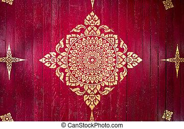 Red background gold buddha