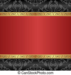 red background - vintage background with golden ornaments