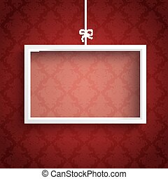 Red Background Ornaments White Frame