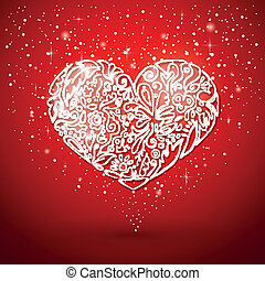 red background, white heart