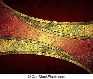 Red background with a gold cutout. design template