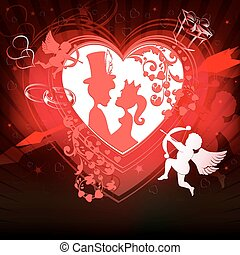 Red background with a silhouette of a heart