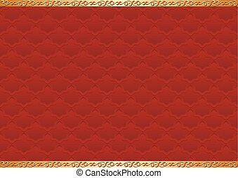 red background with antique ornaments