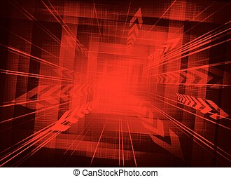 red background with arrows on