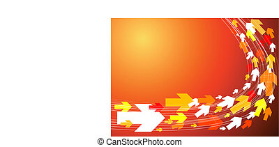 Red background with arrows
