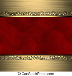 Red background with beautiful gold ornaments at the edges